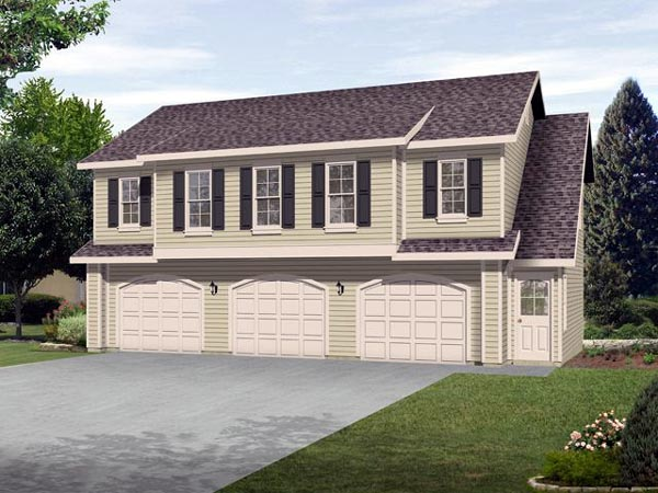 3 Car Garage Apartment Plan 45120 with 2 Beds , 1 Baths Elevation