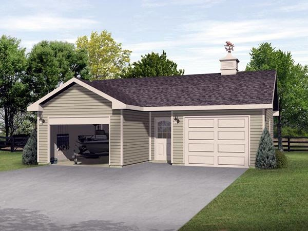 2 Car Garage Plan 45126 Front Elevation