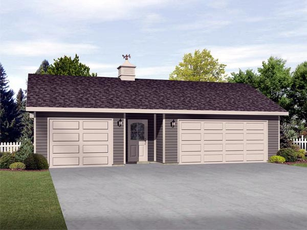 3 Car Garage Plan 45127 Elevation