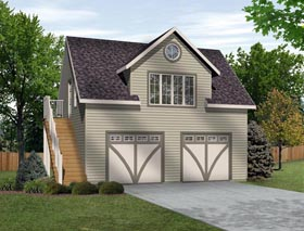 Garage Plan 45134 | Style Plan with 511 Sq Ft, 1 Bedrooms, 1 Bathrooms, 2 Car Garage Elevation