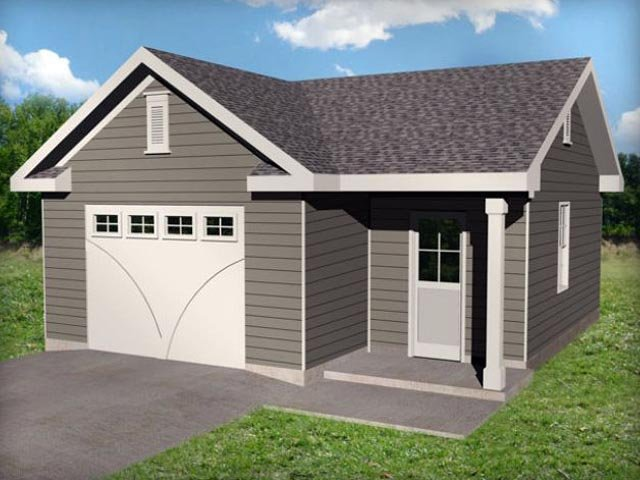 1 Car Garage Plan 45148 Elevation