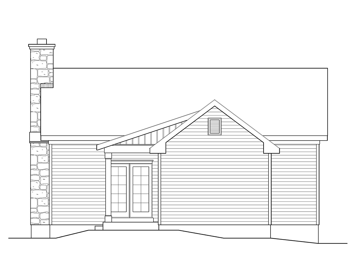 Cabin , Cottage , Country , Ranch , Traditional , Rear Elevation of Plan 45151