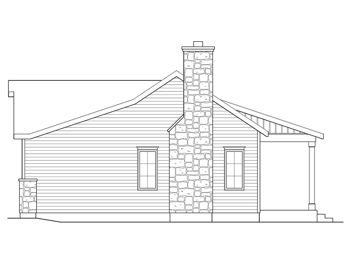 Cabin, Ranch, Traditional House Plan 45152 with 1 Beds, 1 Baths Picture 1