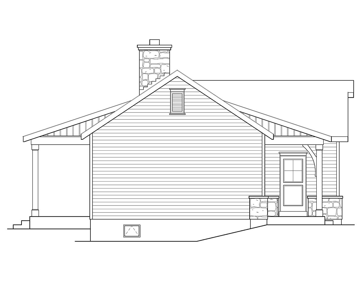 Cabin, Ranch, Traditional House Plan 45152 with 1 Beds, 1 Baths Picture 2