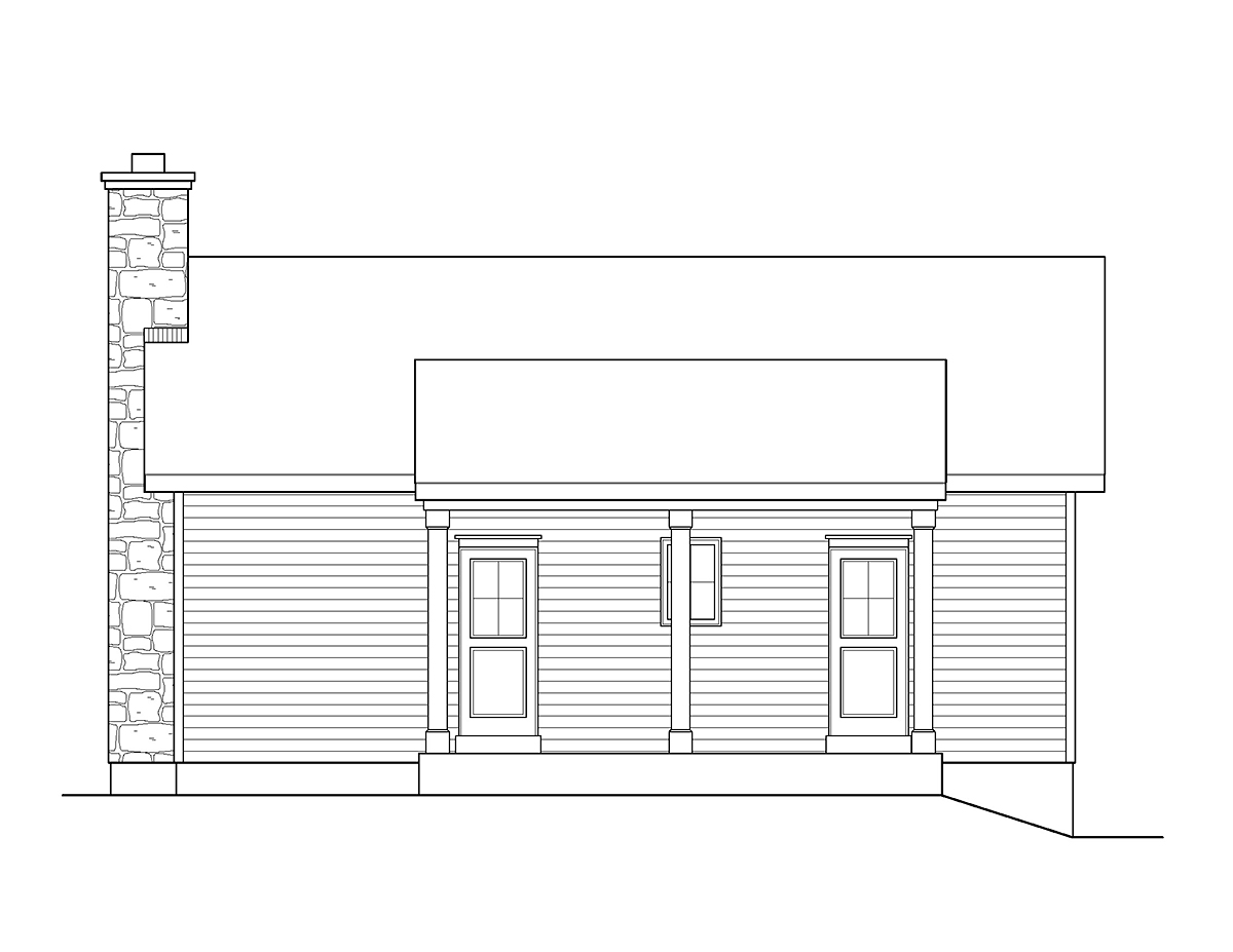 Cabin , Ranch , Traditional , Rear Elevation of Plan 45152