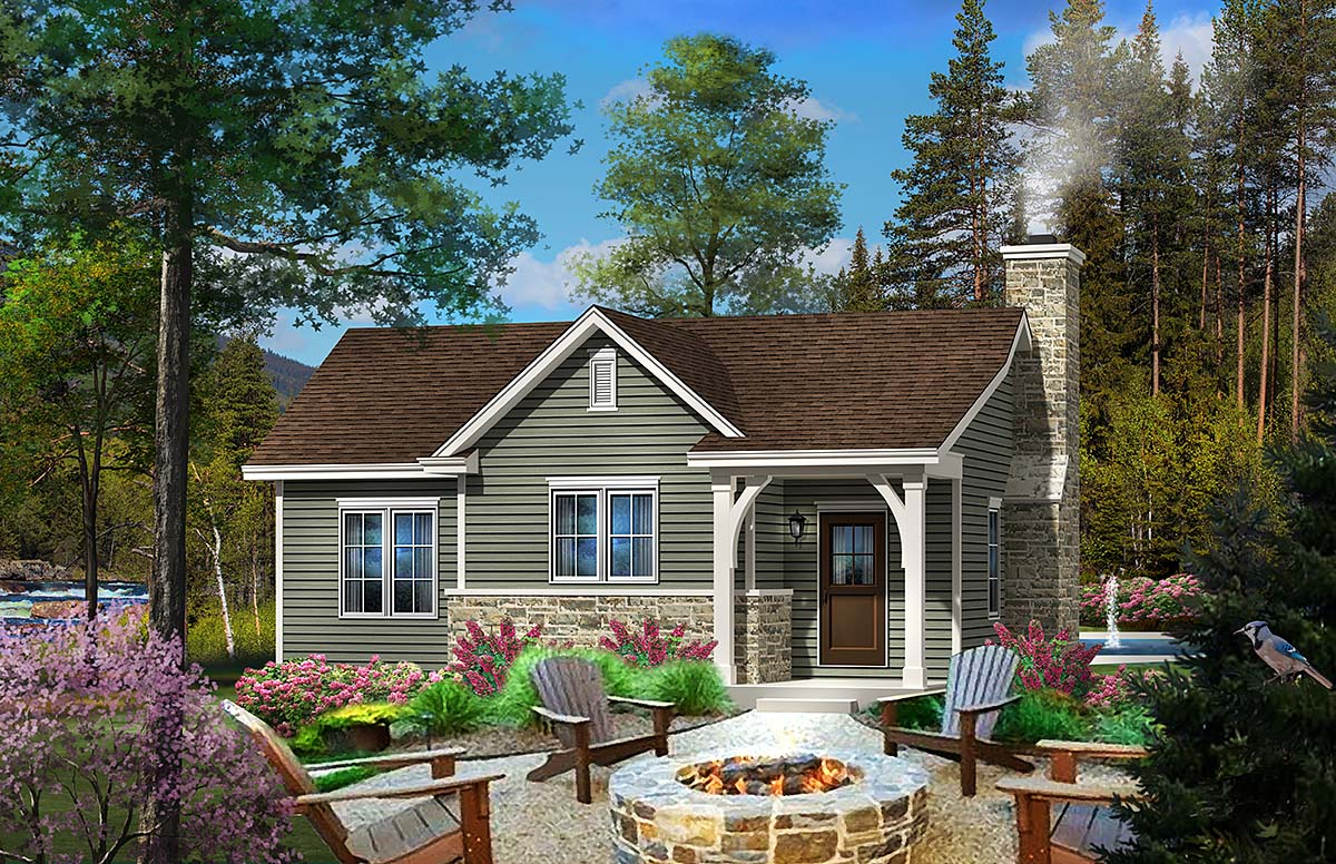 Cabin Country Traditional House Plan 45153 Elevation