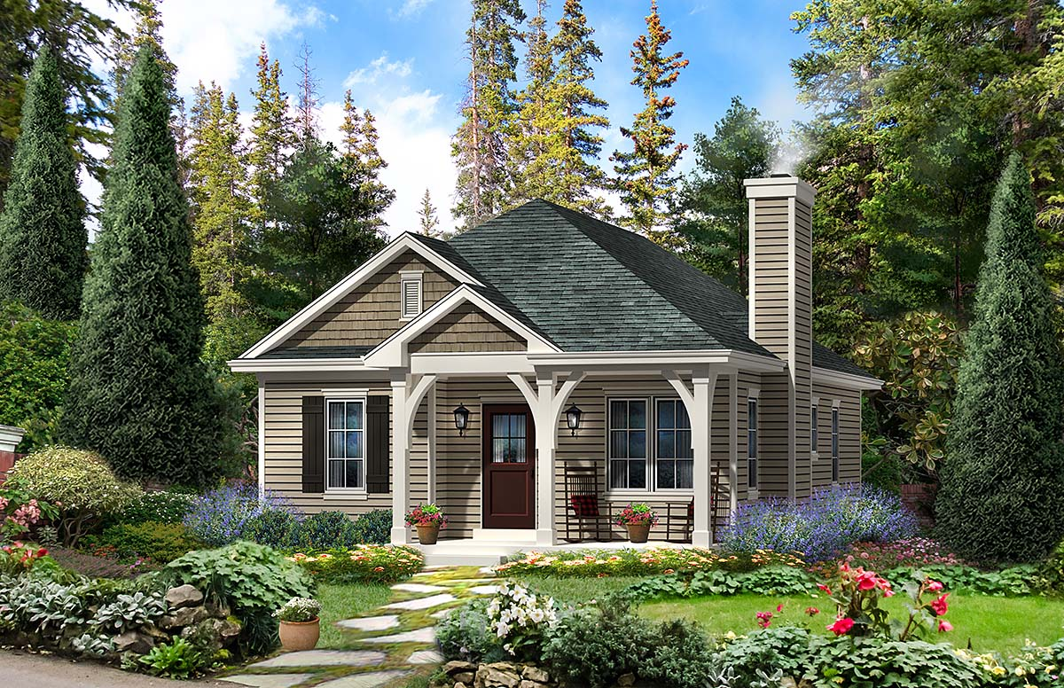 Cabin , Country , Traditional House Plan 45154 with 2 Beds, 2 Baths Elevation