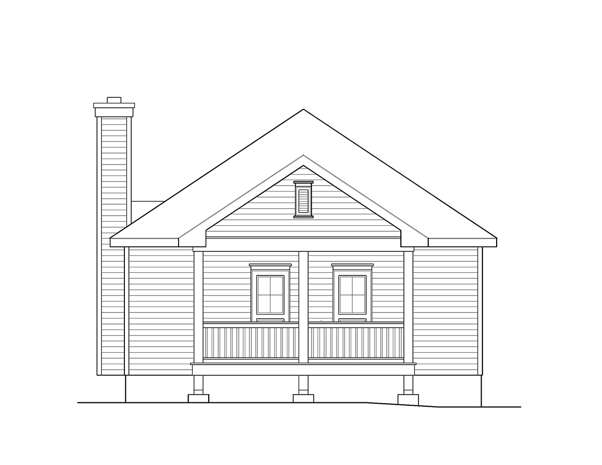 Cabin , Country , Traditional House Plan 45154 with 2 Beds, 2 Baths Rear Elevation