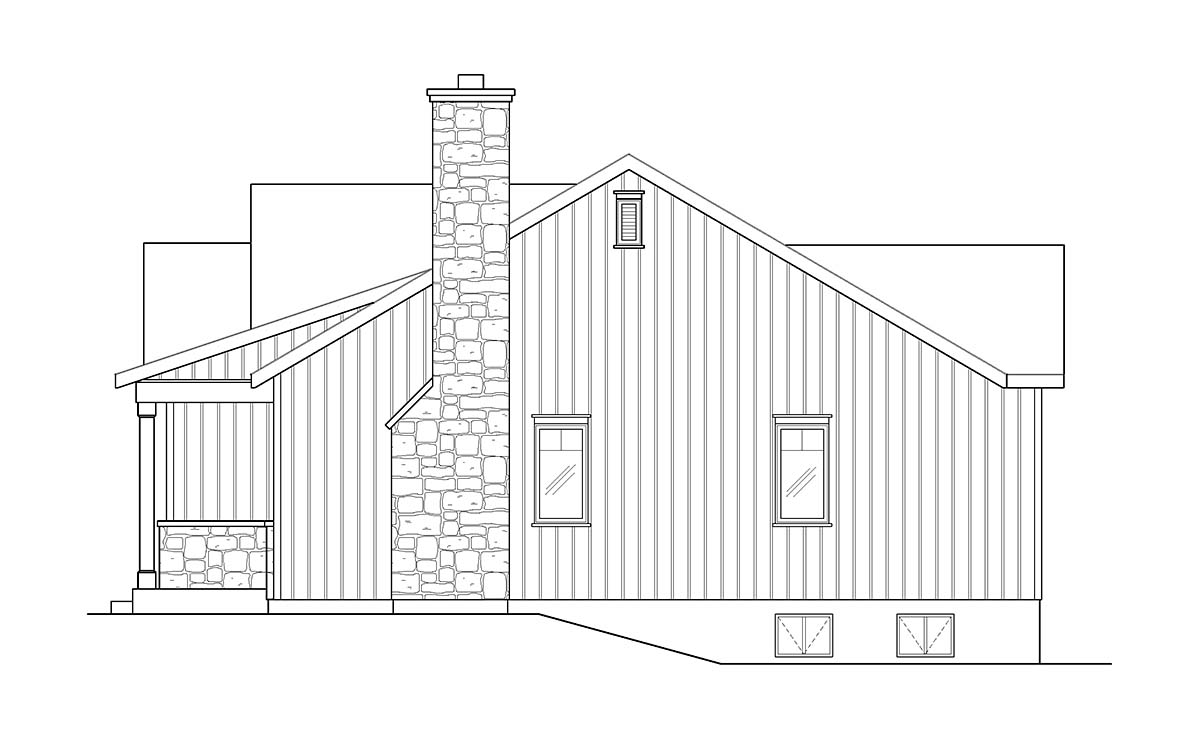 Cabin, Country, Craftsman House Plan 45157 with 2 Beds, 2 Baths Picture 1