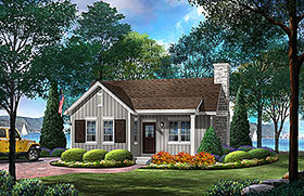 Cabin , Country House Plan 45158 with 1 Beds, 1 Baths Elevation