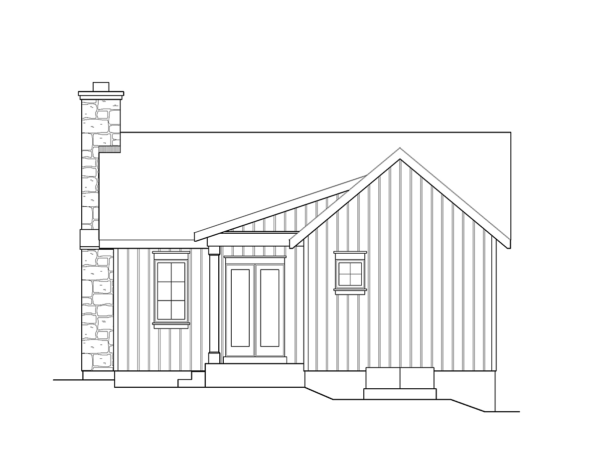 Cabin , Country , Rear Elevation of Plan 45158