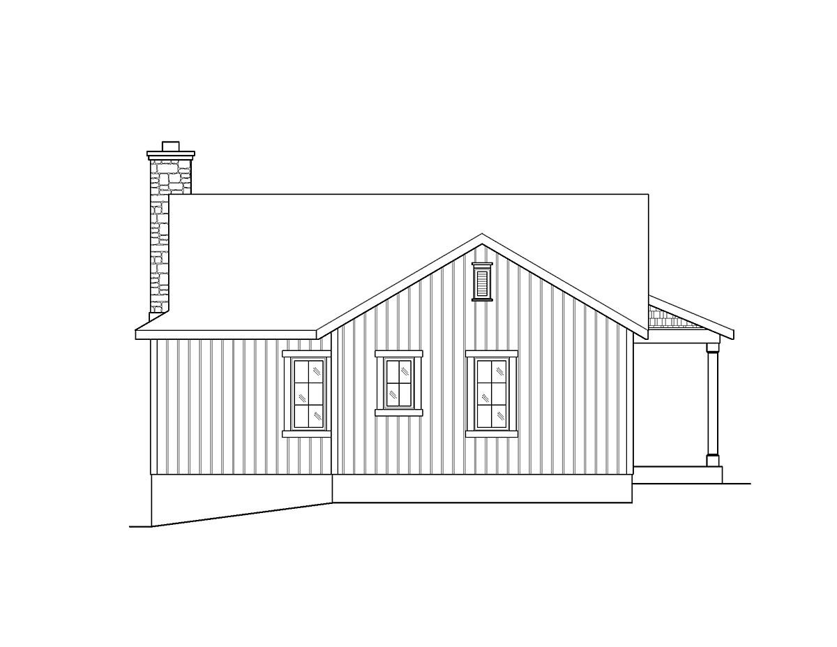 Bungalow, Cottage House Plan 45160 with 2 Beds , 2 Baths Rear Elevation