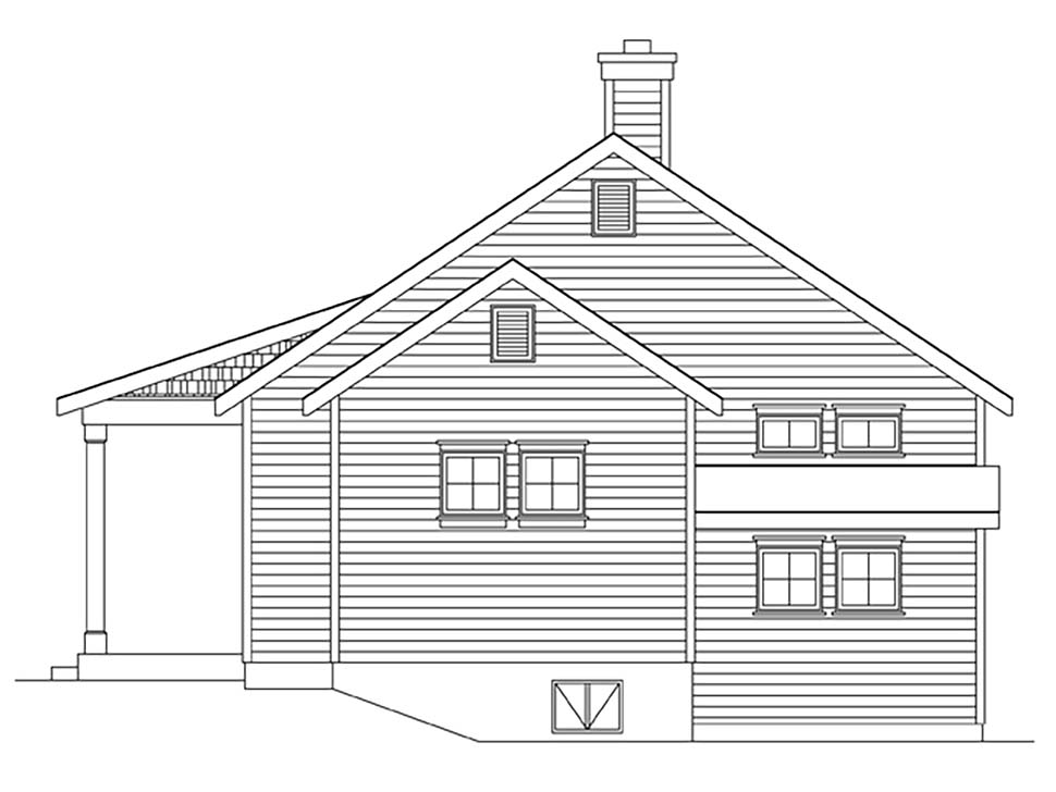 Cottage, Narrow Lot House Plan 45164 with 1 Beds, 1 Baths Picture 1