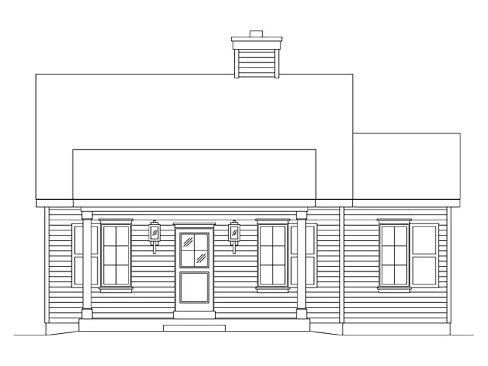 Cottage, Narrow Lot House Plan 45164 with 1 Beds, 1 Baths Picture 3