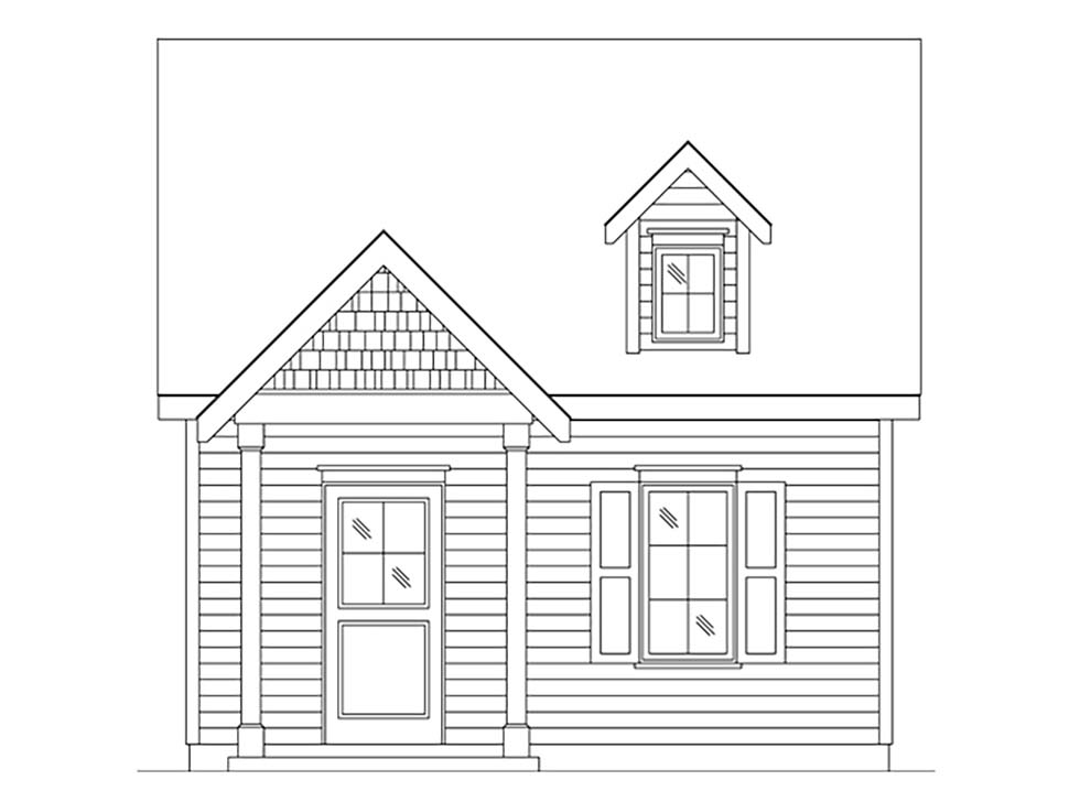 Cabin, Cottage, Narrow Lot, One-Story House Plan 45165 with 1 Beds, 1 Baths Picture 3