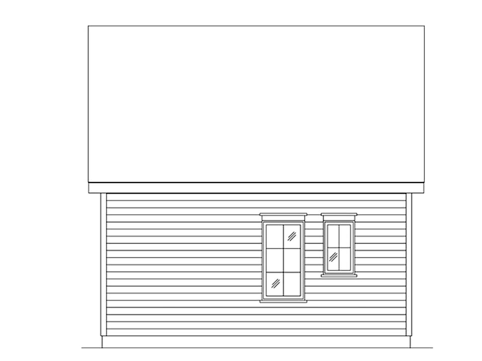 Cabin, Cottage, Narrow Lot, One-Story House Plan 45165 with 1 Beds, 1 Baths Rear Elevation