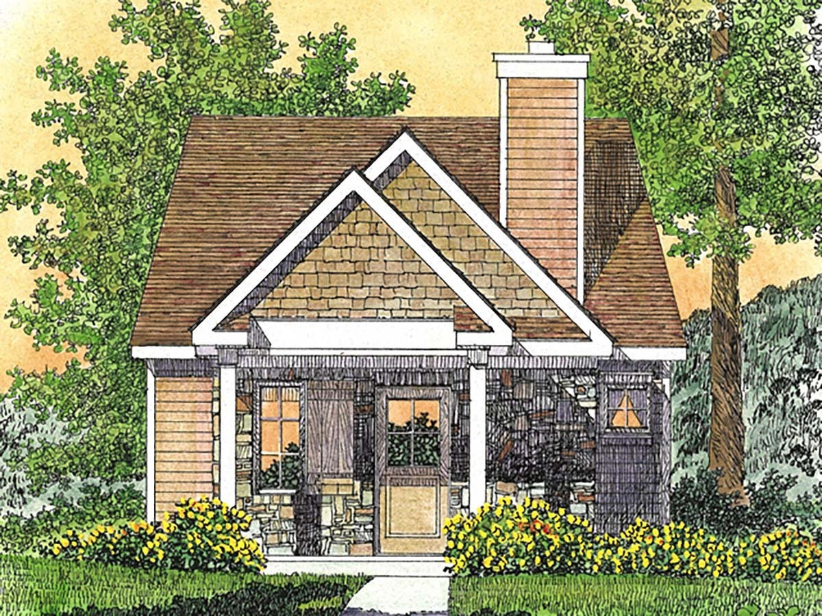 Bungalow, Cabin, Cottage, Craftsman, Narrow Lot, One-Story House Plan 45166 with 1 Beds, 1 Baths Front Elevation