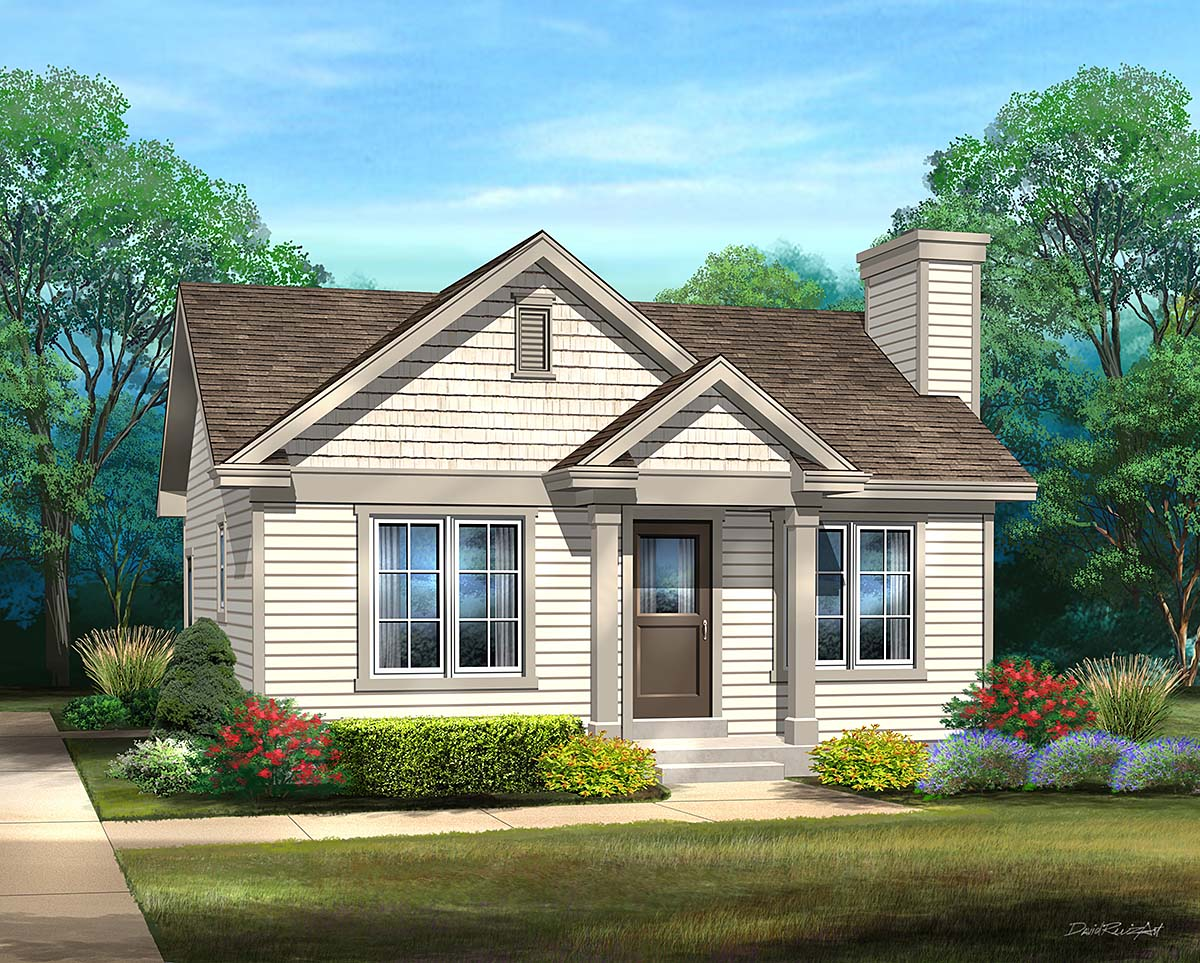 Bungalow, Cabin, Cottage, Narrow Lot, One-Story House Plan 45167 with 1 Beds, 1 Baths Elevation