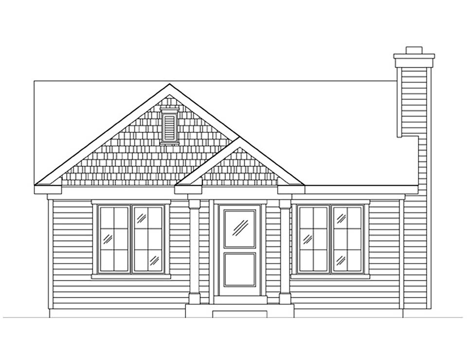 Bungalow, Cabin, Cottage, Narrow Lot, One-Story House Plan 45167 with 1 Beds, 1 Baths Picture 3