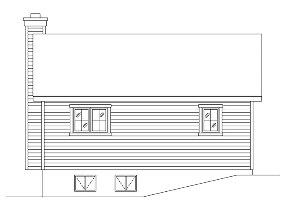 Bungalow, Cabin, Cottage, Narrow Lot, One-Story House Plan 45167 with 1 Beds, 1 Baths Rear Elevation