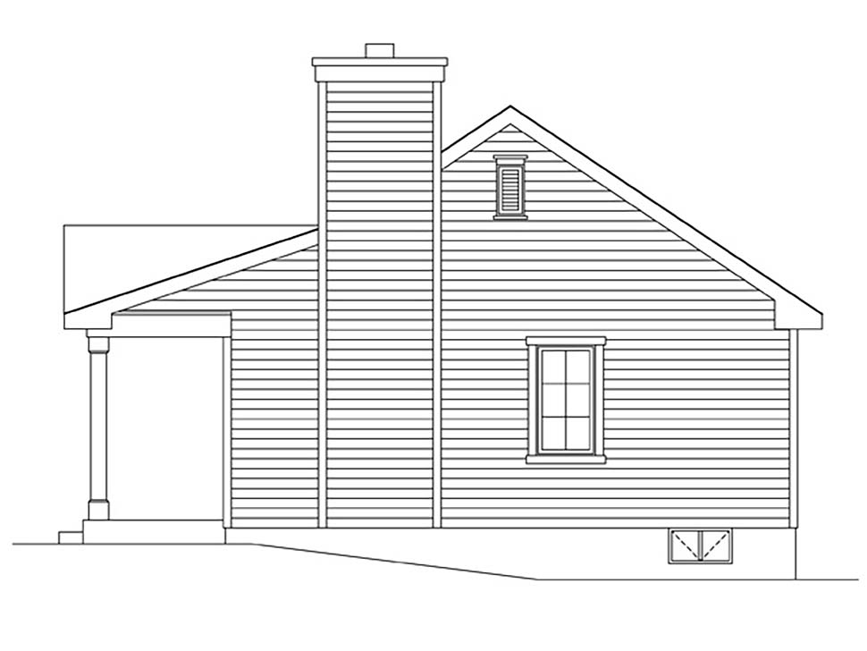 Cabin, Cottage, Country, Narrow Lot, One-Story House Plan 45168 with 1 Beds, 1 Baths Picture 1