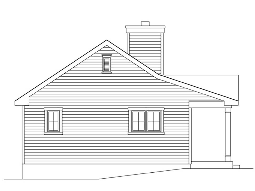 Cabin, Cottage, Country, Narrow Lot, One-Story House Plan 45168 with 1 Beds, 1 Baths Picture 2
