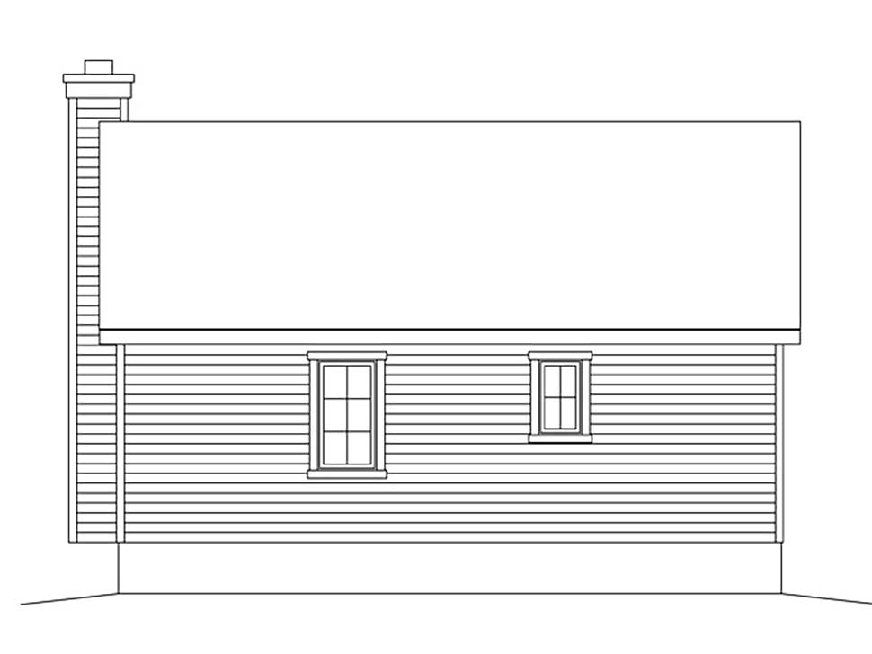 Cabin, Cottage, Country, Narrow Lot, One-Story House Plan 45168 with 1 Beds, 1 Baths Rear Elevation