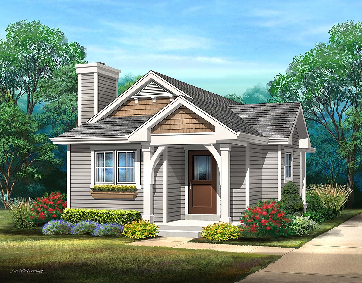 Bungalow, Cottage, One-Story House Plan 45169 with 1 Beds, 1 Baths Front Elevation