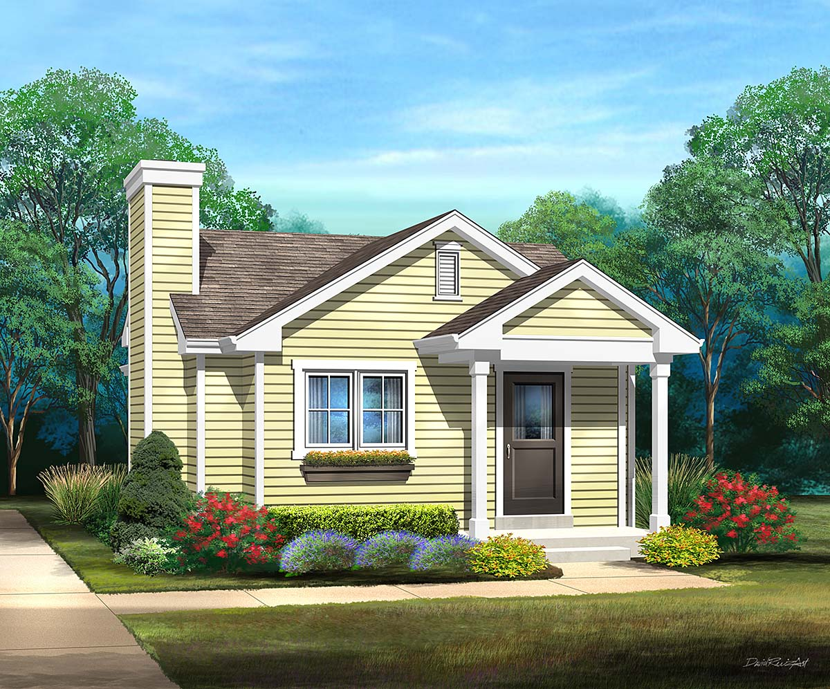 Bungalow, Cottage, Narrow Lot, One-Story House Plan 45172 with 1 Beds, 1 Baths Front Elevation