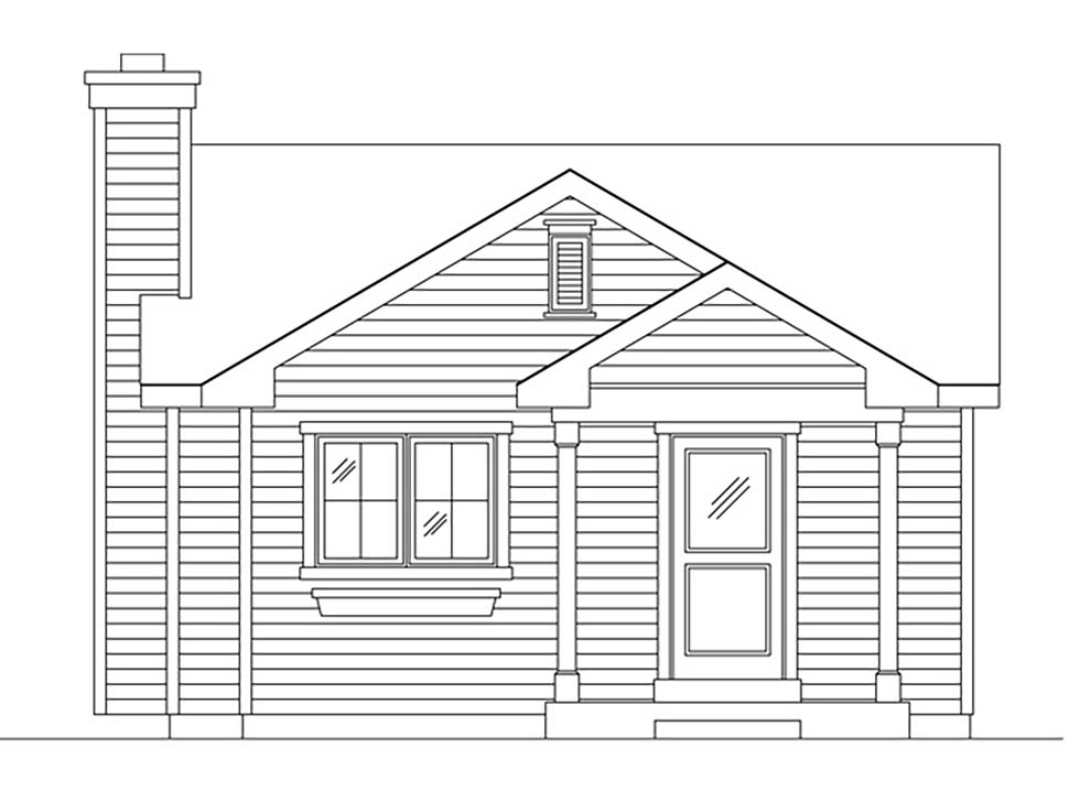 Bungalow, Cottage, Narrow Lot, One-Story House Plan 45172 with 1 Beds, 1 Baths Picture 3