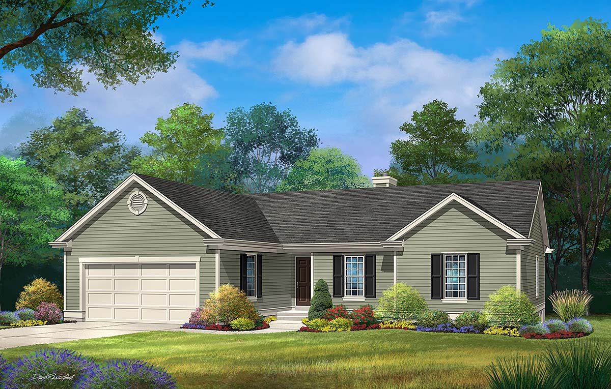 Ranch House Plan 45175 with 3 Beds , 2 Baths , 2 Car Garage Elevation