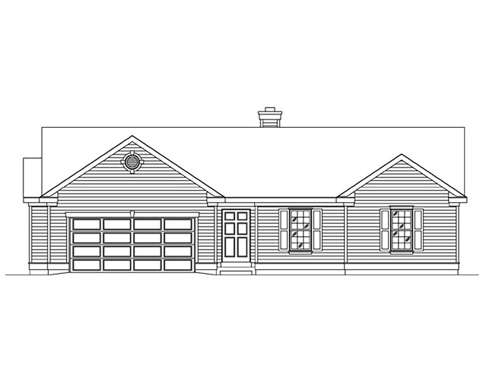 Ranch House Plan 45175 with 3 Beds, 2 Baths, 2 Car Garage Picture 3