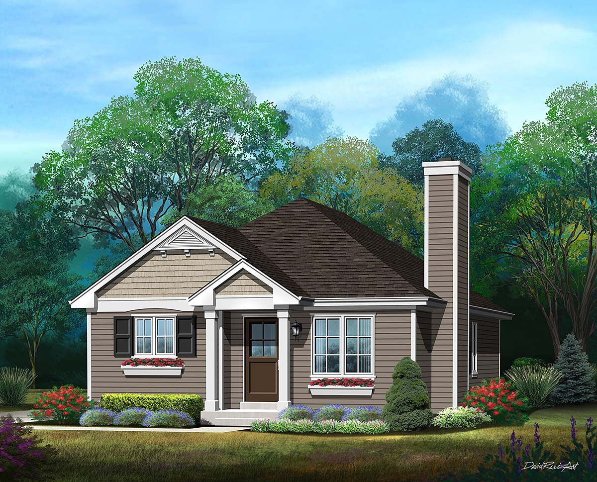 Bungalow, Cottage, Narrow Lot, One-Story House Plan 45176 with 3 Beds, 1 Baths Front Elevation