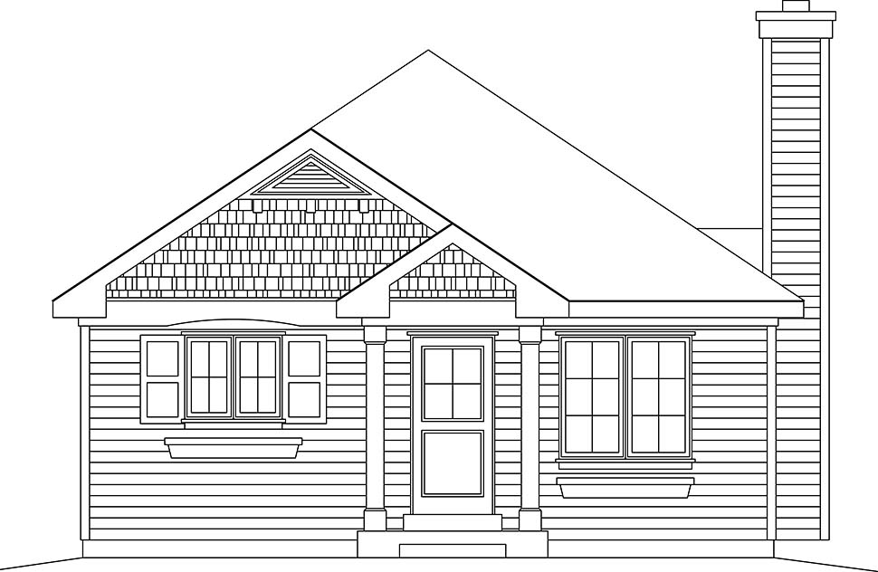 Bungalow, Cottage, Narrow Lot, One-Story House Plan 45176 with 3 Beds, 1 Baths Picture 3
