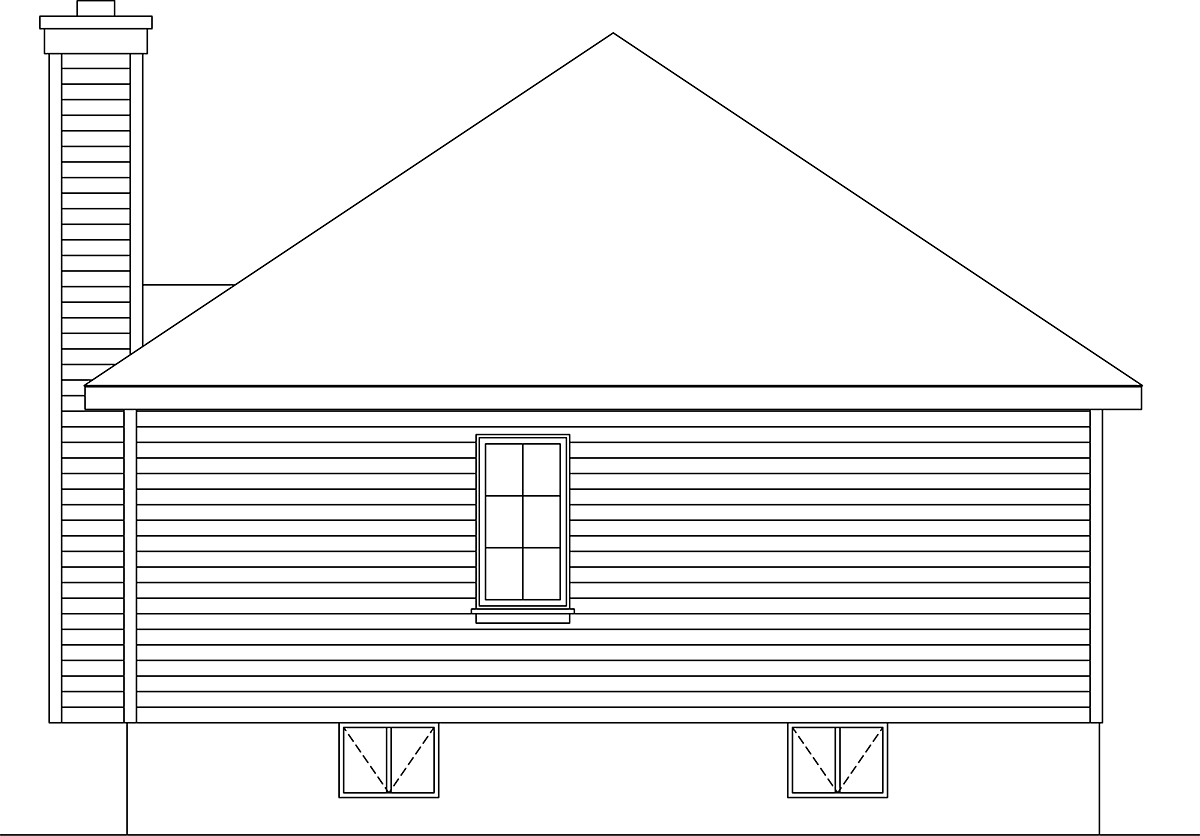 Bungalow, Cottage, Narrow Lot, One-Story House Plan 45176 with 3 Beds, 1 Baths Rear Elevation