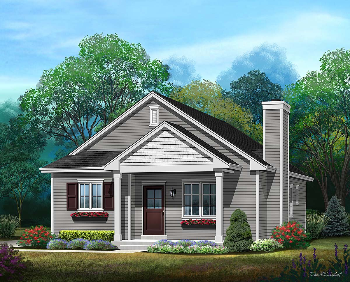 Bungalow, Cottage, Narrow Lot, One-Story House Plan 45177 with 3 Beds, 2 Baths Elevation