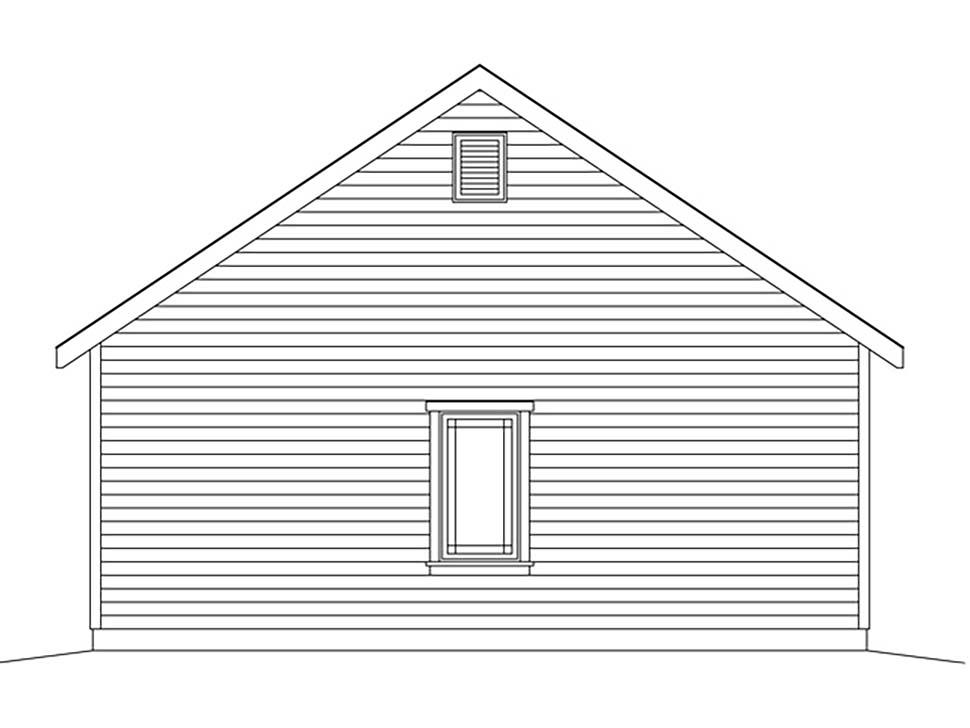 2 Car Garage Plan 45181 Rear Elevation