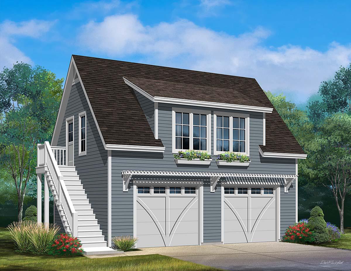 2 Car Garage Plan 45182 Elevation
