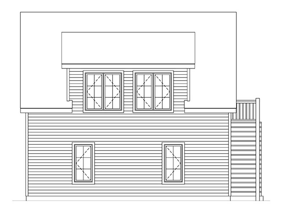 2 Car Garage Plan 45182 Rear Elevation