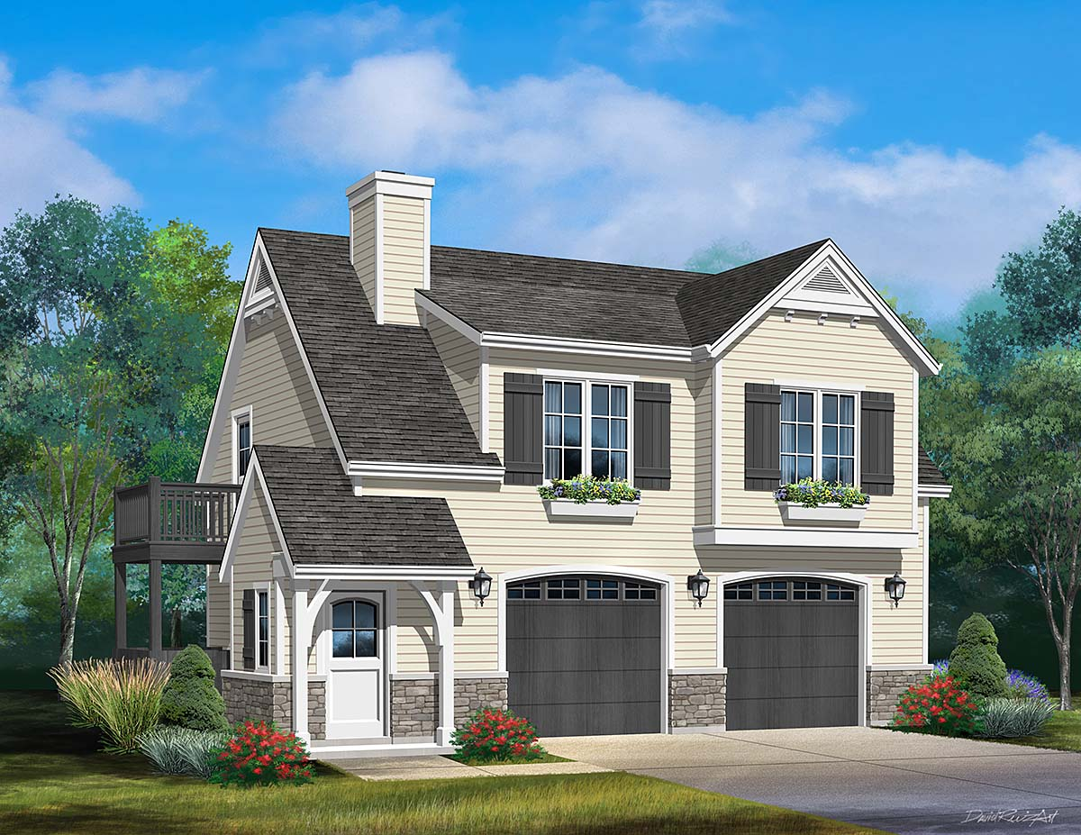 2 Car Garage Apartment Plan 45183 with 1 Beds , 1 Baths Elevation