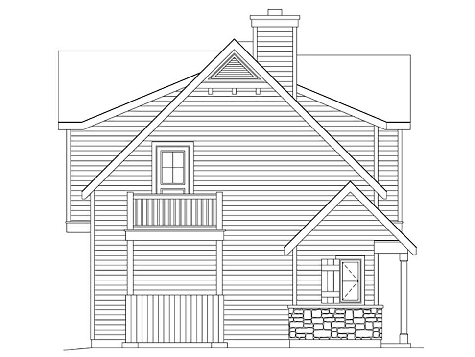 Farmhouse, Traditional 2 Car Garage Apartment Plan 45183 with 1 Beds, 1 Baths Picture 2