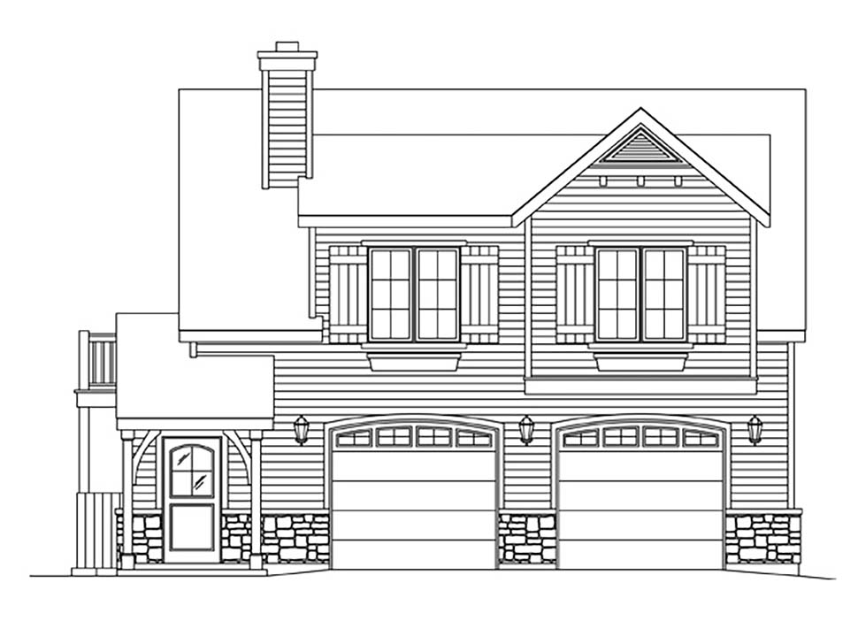 Farmhouse, Traditional 2 Car Garage Apartment Plan 45183 with 1 Beds, 1 Baths Picture 3