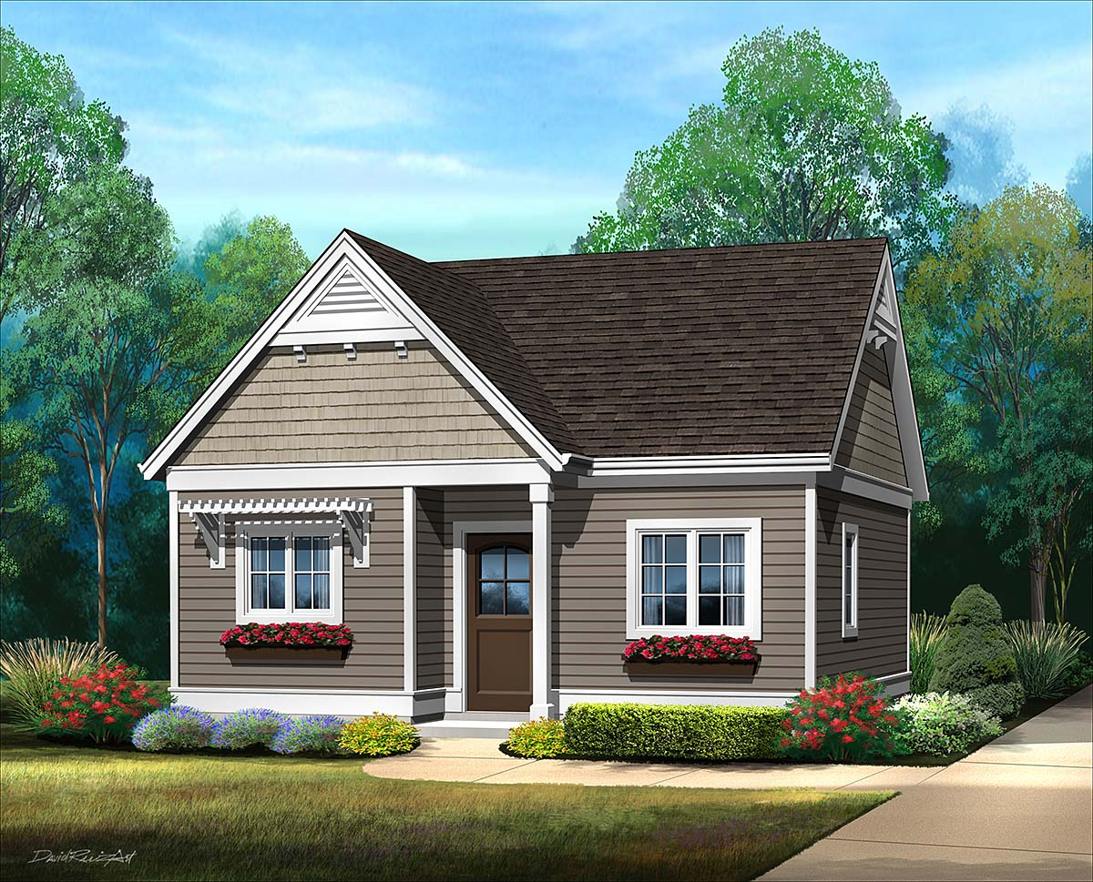 Cottage, Narrow Lot, One-Story House Plan 45184 with 1 Beds, 1 Baths Front Elevation