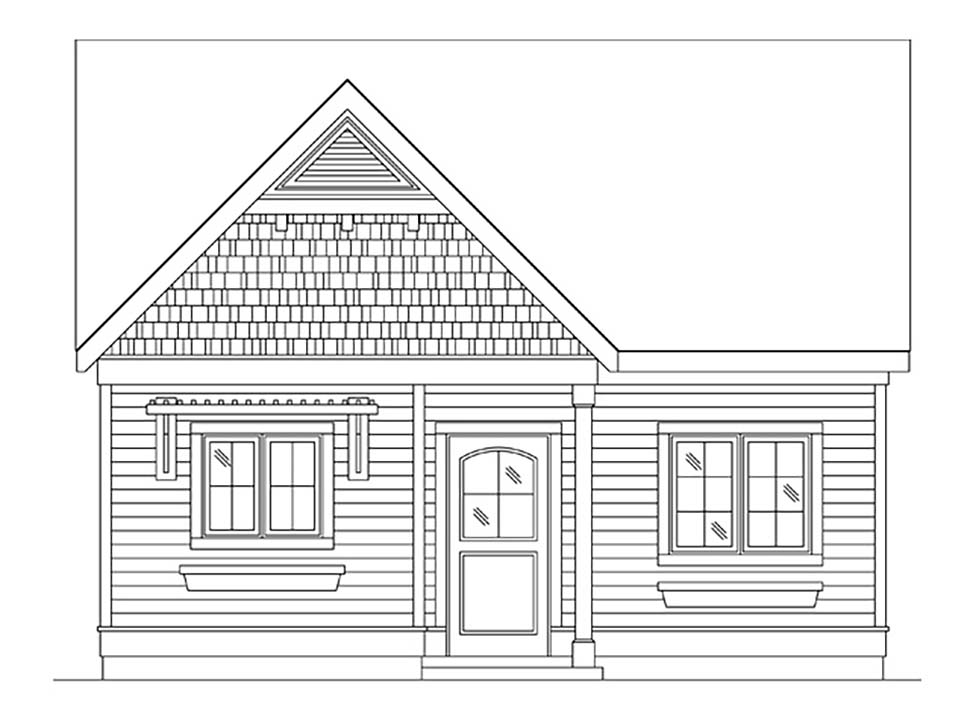 Cottage, Narrow Lot, One-Story House Plan 45184 with 1 Beds, 1 Baths Picture 3
