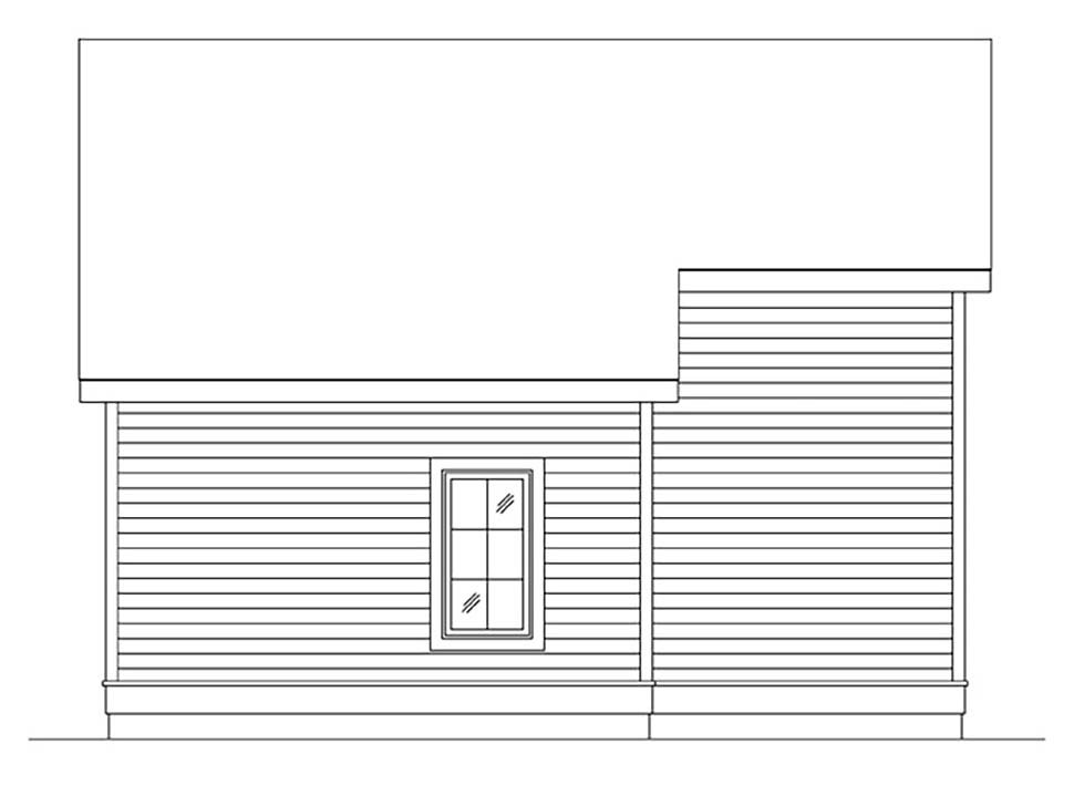 Cottage, Narrow Lot, One-Story House Plan 45184 with 1 Beds, 1 Baths Rear Elevation