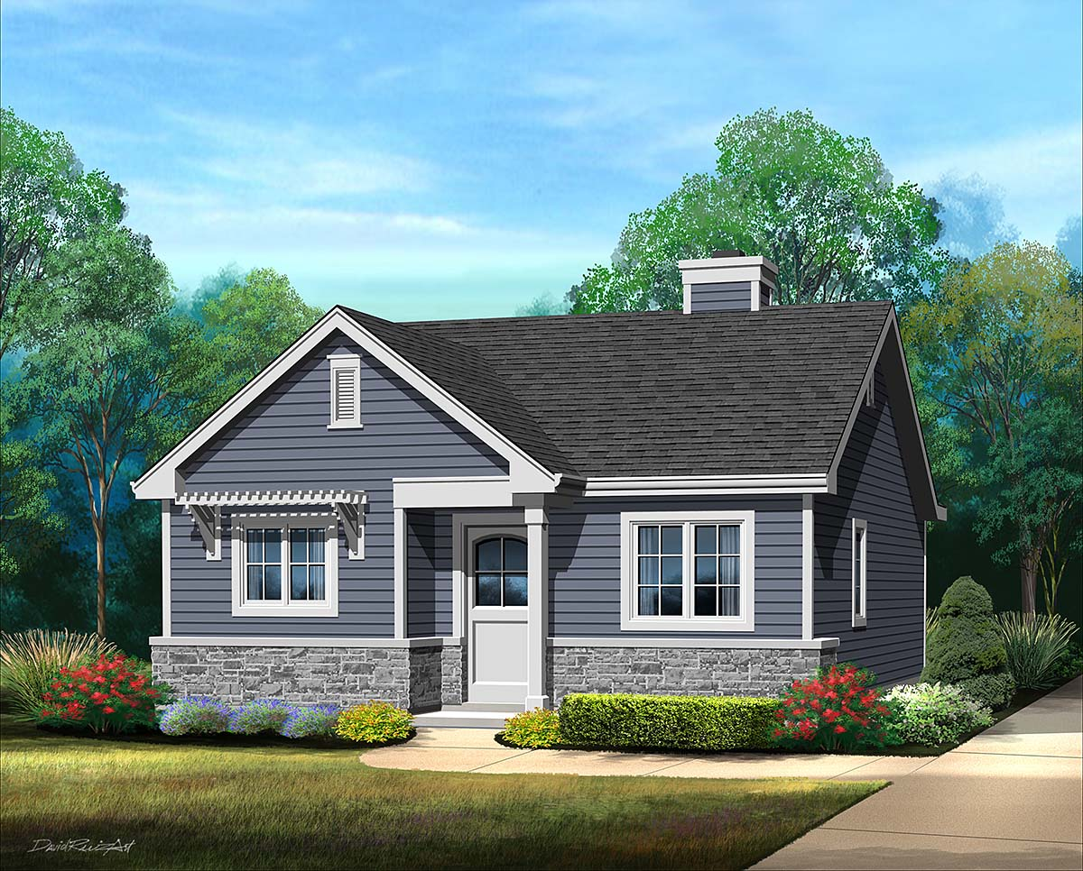 Bungalow, Cottage, Narrow Lot, One-Story House Plan 45185 with 1 Beds , 1 Baths Elevation