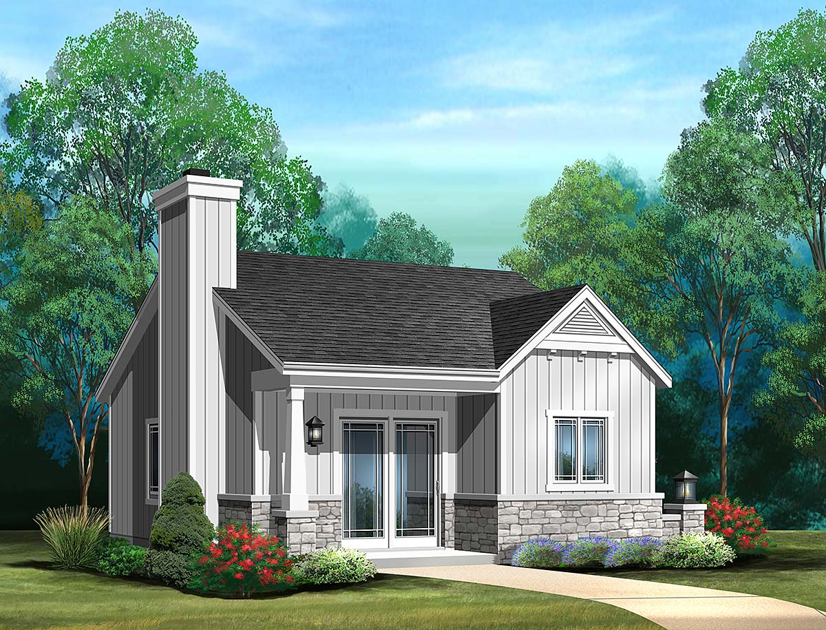Bungalow, Cottage, Narrow Lot, One-Story House Plan 45186 with 1 Beds, 1 Baths Front Elevation