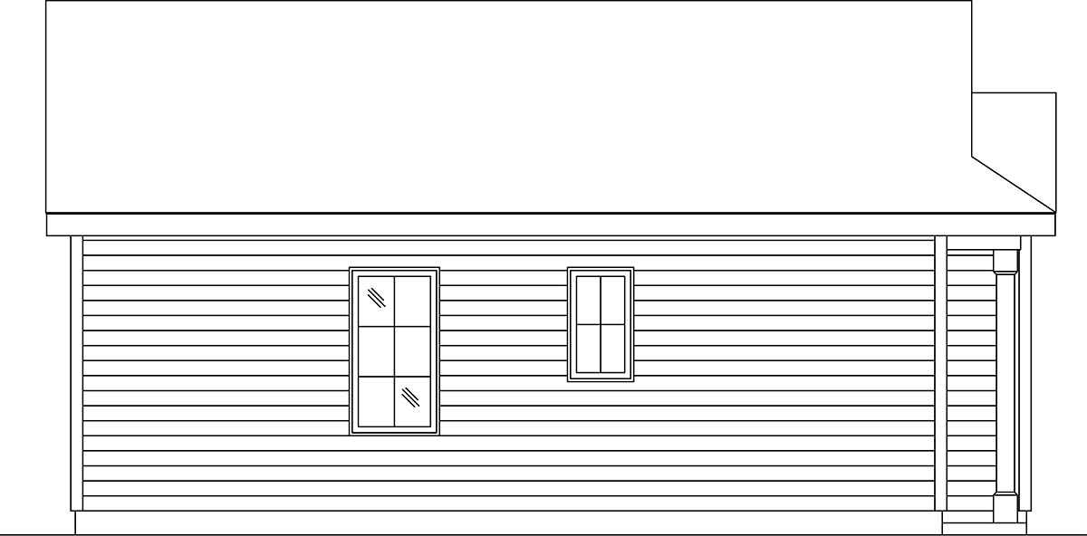 Cottage, Narrow Lot, One-Story House Plan 45187 with 1 Beds, 1 Baths Picture 2