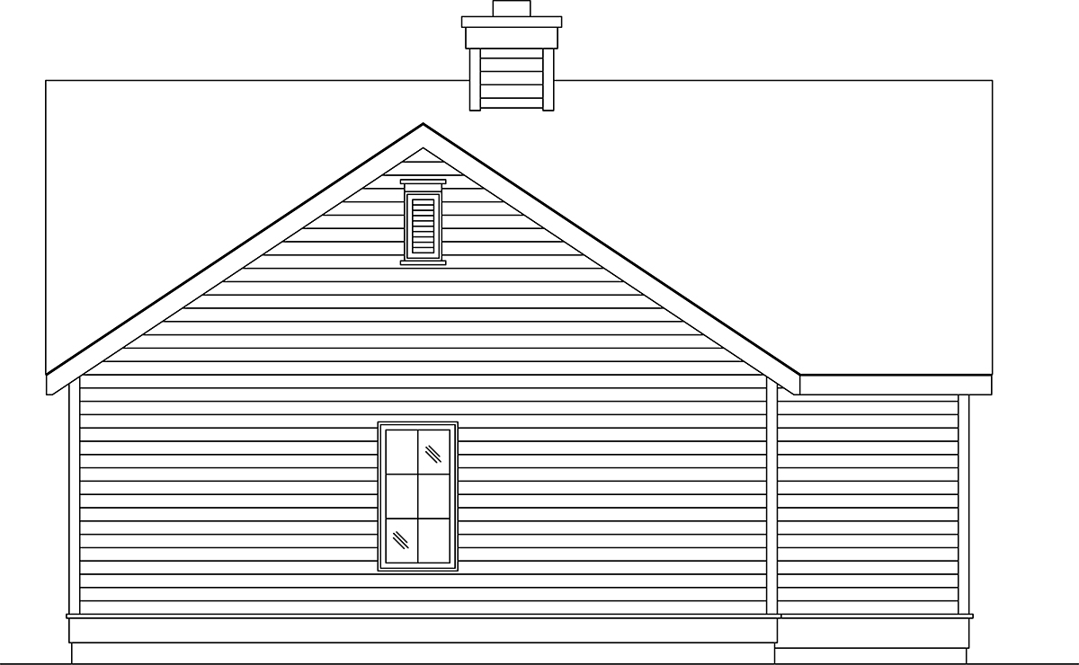 Narrow Lot, One-Story House Plan 45188 with 1 Beds, 1 Baths, 1 Car Garage Rear Elevation