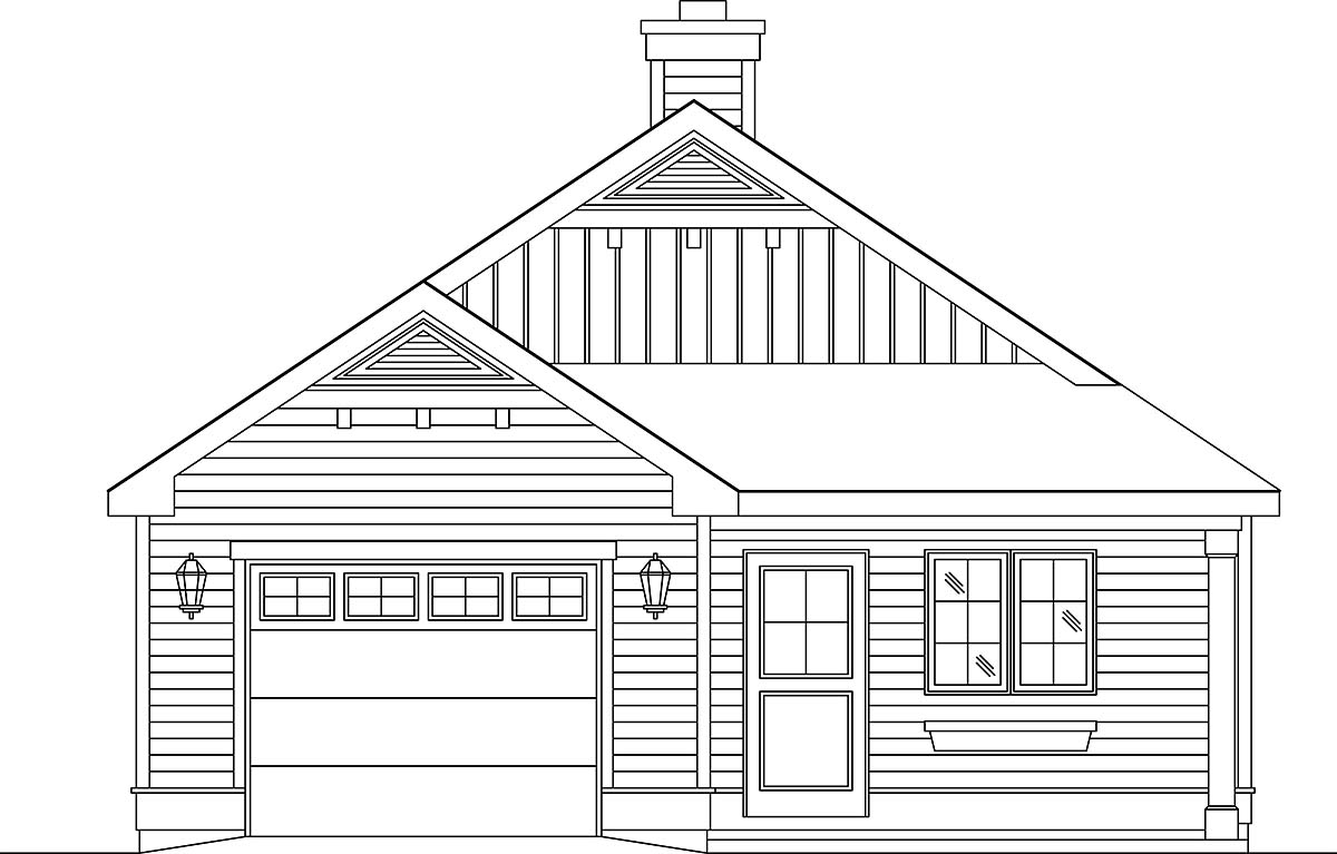 Narrow Lot, One-Story House Plan 45189 with 2 Beds, 1 Baths, 1 Car Garage Front Elevation